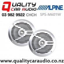 """Alpine SPS-M601W 6.5"""" 110W (35W RMS) 2 Way Coaxial Marine Speaker (pair) with Easy Finance"""