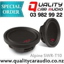 "Alpine SWR-T10 Type R 10"" (25cm) 1800W Slim Line / Shallow Mount Car Subwoofer with Easy Layby"