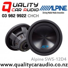 "Alpine SWS-12D4 12"" 1500W 4 ohm Dual Voice Coil (DVC)  Subwoofer with Easy LayBy"
