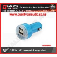 DUSBPCBL Dual USB Port Car Charger Blue - Easy LayBy