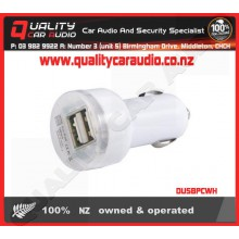 DUSBPCWH Dual USB Port Car Charger White - Easy LayBy