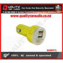 DUSBPCYL Dual USB Port Car Charger Yellow - Easy LayBy