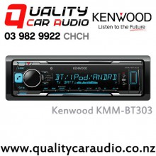Kenwood KMM-BT303 Bluetooth (2x Phone Full Time Connection) USB AUX Smart Phone Support 2x Preouts Mechaless Car Stereo  with Easy LayBy