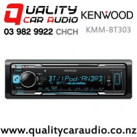 Kenwood KMM-BT303 Bluetooth (2x Phone Full Time Connection) USB AUX Smart Phone Support 2x Preouts Mechaless Car Stereo with Easy Finance