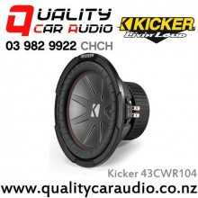"Kicker 43CWR104 CompR 10"" 800W (400W RMS) Dual 4 ohm Voice Coils Car Subwoofer with Easy LayBy"