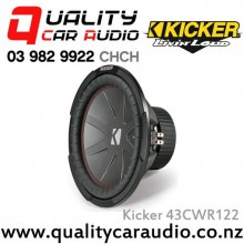 "Kicker 43CWR122 CompR 12"" 1000W (500W RMS) Dual 2 ohm Voice Coils Car Subwoofer with Easy LayBy"