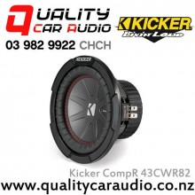 "Kicker CompR 43CWR82 8"" 600W (300W RMS) Dual 2 ohm Voice Coils Car Subwoofer with Easy LayBy"