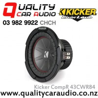 "Kicker CompR 43CWR84 8"" 600W (300W RMS) Dual 4 ohm Voice Coils Car Subwoofer with Easy LayBy"