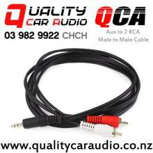 QCA-A2RCA 3.5mm Aux to 2 RCA Male to Male Cable with Easy Finance
