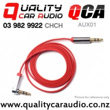 QCA-AUX01 3.5mm 90 Degree Right Angle Flat Jack Auxiliary Cable (0.75m Red) with Easy Finance