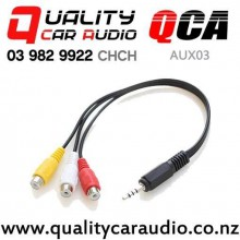 QCA-AUX03 3 RCA Female to 3.5mm Male Jack AV Cables (35cm) with Easy Finance