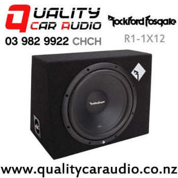 """Rockford Fosgate R1-1X12 12"""" 400W (200W RMS) 4 ohm Voice Coil Sealed Subwoofer Enclosure with Easy Payments"""